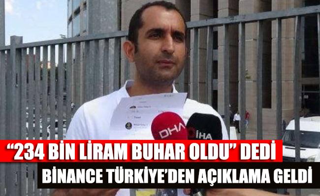 '234 bin liram buhar oldu' dedi, Binance Türkiye'den açıklama geldi