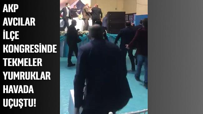 AKP Avcılar ilçe kongresi seçiminde tekmeli, yumruklu kavga!