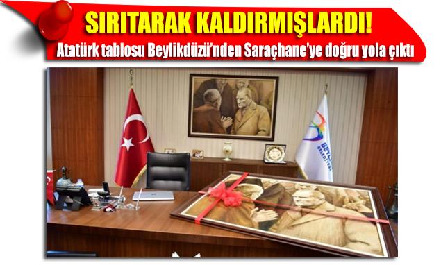 Atatürk tablosu Beylikdüzü'nden Saraçhane'ye doğru yola çıktı