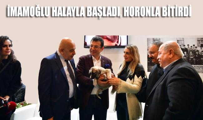 Ekrem İmamoğlu, Emitt Turizm Fuarı'nda önce halay çekti, sonra horon tepti