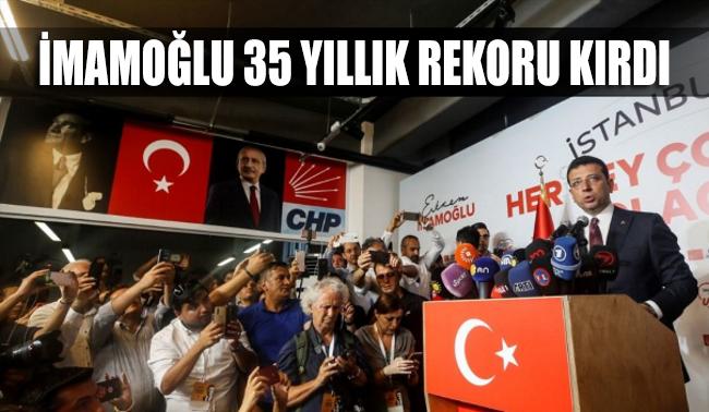 Ekrem İmamoğlu, İstanbul'da 35 yıllık rekoru kırdı