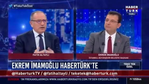İmamoğlu, Habertürk canlı yayınında Fatih Altaylı'nın sorularını yanıtladı