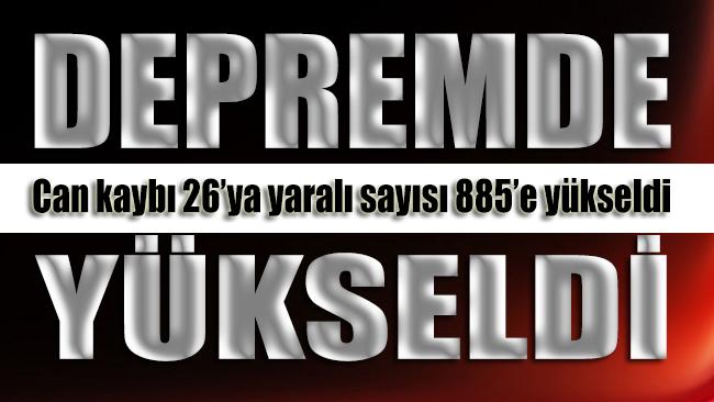 İzmir'deki depremde can kaybı 26'ya, yaralı sayısı 885'e yükseldi