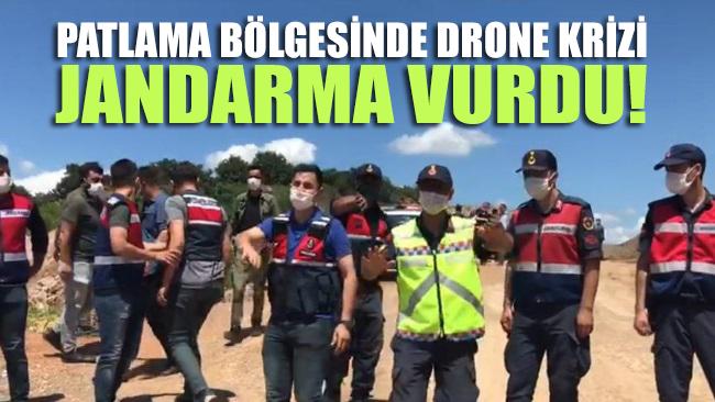 Patlama bölgesinde drone krizi! Jandarma vurarak düşürdü
