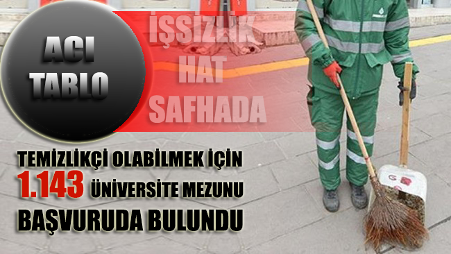 Temizlikçi olabilmek için 1.143 üniversite mezunu başvurdu