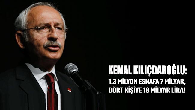 Kemal Kılıçdaroğlu: 1.3 milyon esnafa 7 milyar, dört kişiye 18 milyar lira!