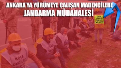 Ankara'ya yürümeye çalışan madencilere jandarma müdahalesi
