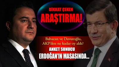 Babacan ve Davutoğlu, AKP'den ne kadar oy aldı? Anket sonucu Erdoğan'ın masasında…