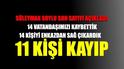 Bakan Soylu, son rakamı açıkladı: Ölü sayısı 14 oldu