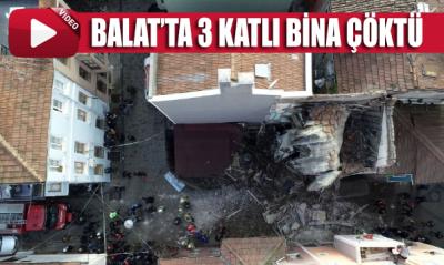 Balat'ta 3 katlı bina çöktü! İŞTE O ANLAR