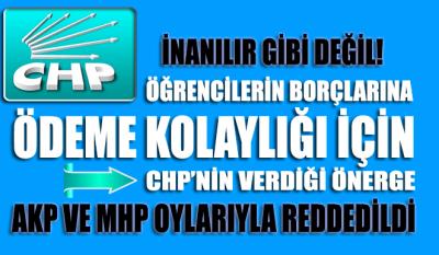 CHP'nin öğrencilerin borçlarına kolaylık için verdiği önerge AKP ve MHP tarafından reddedildi
