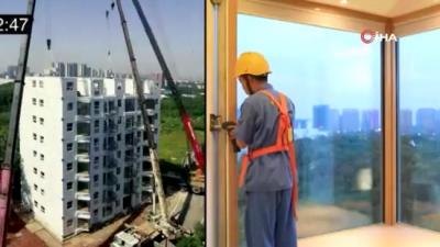 Çin'de bir şirket 28 saatte 10 katlı bina inşa etti