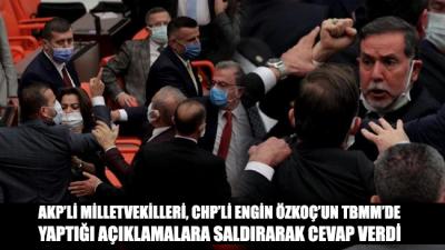 CHP'li Engin Özkoç'un açıklamaları üzerine, AKP milletvekilleri CHP sıralarına yürüdü