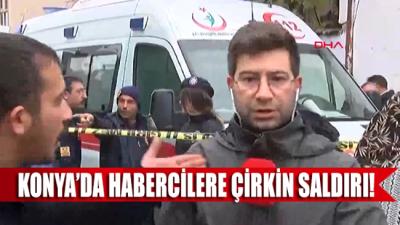 Konya'da çöken bina haberini yapmaya çalışan muhabire çirkin saldırı!