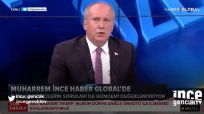 Muharrem İnce, konuşması kesilerek Erdoğan'ın görüntülerinin yayınlanmasına tepki gösterip canlı yayını terk etti