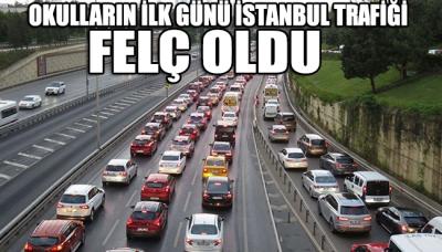 Okulların ilk gününde İstanbul trafiği felç oldu