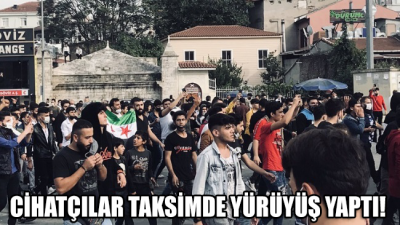 Taksim'de cihatçı ÖSO taraftarları polis müdahalesi olmaksızın yürüyüşe geçti!