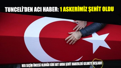 Tunceli'den acı haber geldi: 1 Askerimiz şehit oldu