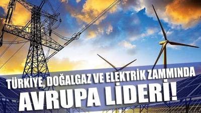 Türkiye doğalgaz ve elektrik zammında Avrupa lideri!